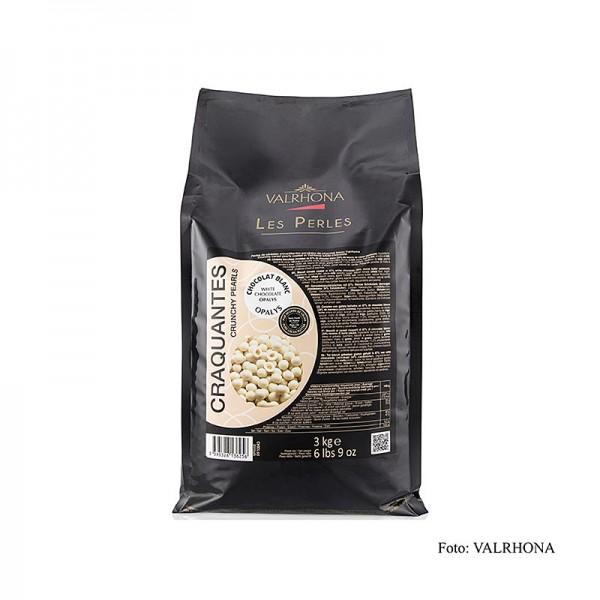 Valrhona - Knusprige Perlen Getreidefüllung mit Opalys Schokoüberzug weiß