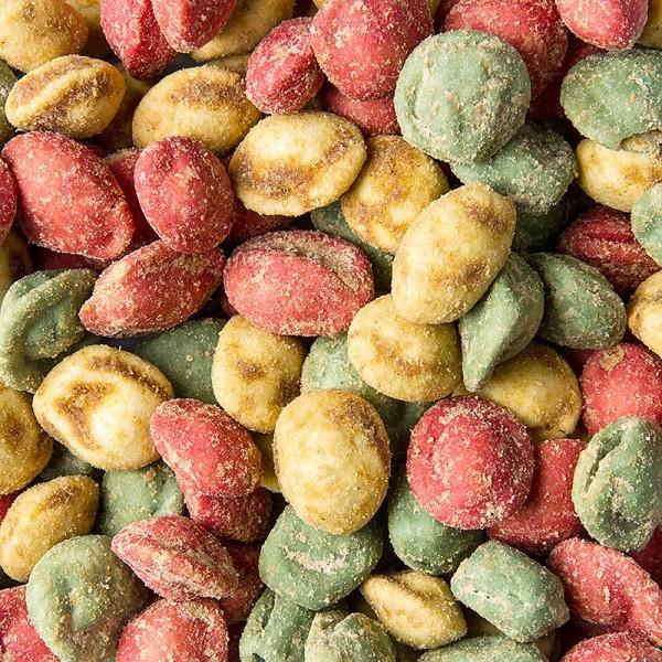 Deli-Vinos Snack Selection - Erdnüsse im Teigmantel - Wasabi Raviolis BBQ Mix mit echtem Wasabi