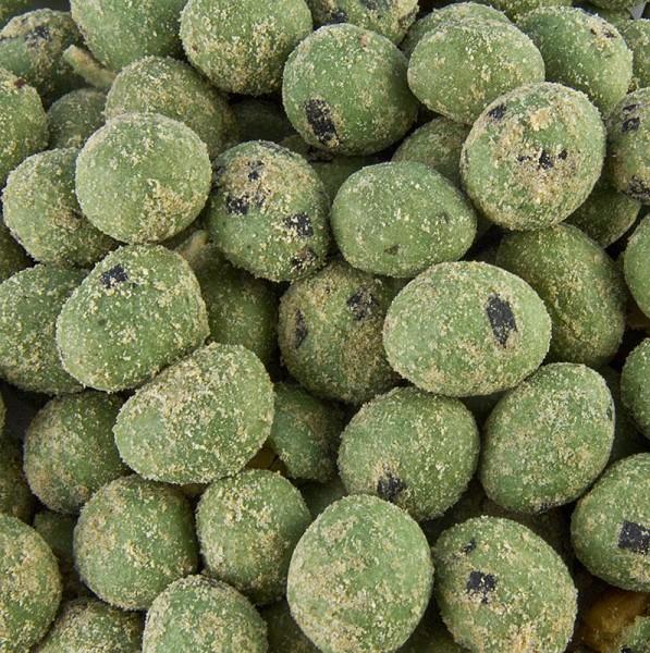 Deli-Vinos Snack Selection - Erdnüsse im Teigmantel mit echtem Wasabi Japonica & Seetangstücken rund